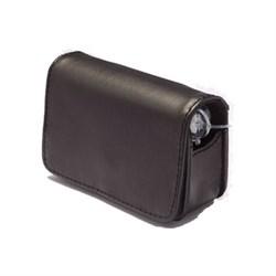 Горизонтальный черный кожаный чехол для помпы Медтроник ММТ - 522 (722); ММТ- 554 (754)